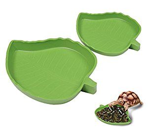 Yunt Pet Aquarium Ornament Leaf Reptile Food and Water Bowl...