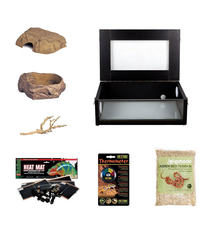 Corn Snake Starter Kit- Black Small Vivarium (18