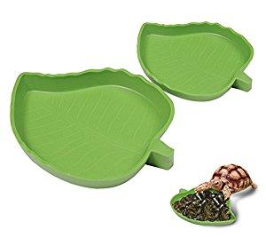 Yunt Pet Aquarium Ornament Leaf Reptile Food and Water Bowl...