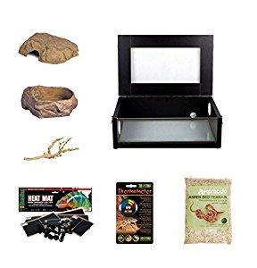 The Pet Express Corn Snake Starter Kit- Black Small Vivarium (18